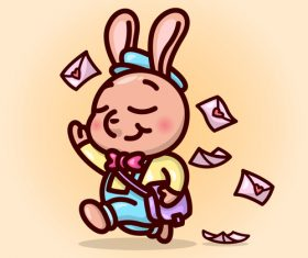 Rabbit postman cartoon illustration vector