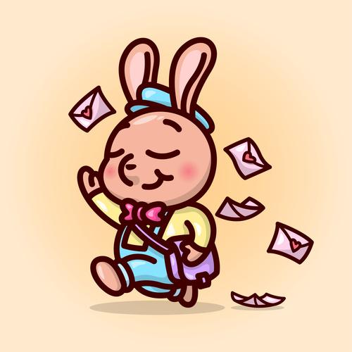 Rabbit postman cartoon illustration vector