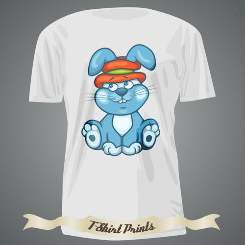 Rabbit t shirts prints design vector