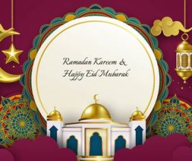 Ramadan Kareem and Eid Mubarak banner design background vector