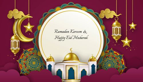 Ramadan Kareem And Eid Mubarak Banner Design Background Vector Free Download