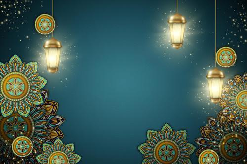 Ramadan Kareem background illustration in paper style vector