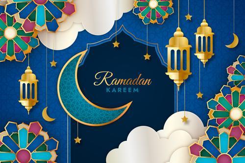 Ramadan Kareem blue exquisite card vector