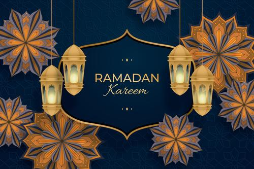 Ramadan Kareem card vector on black background