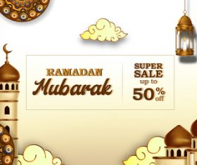 Ramadan Kareem sale flyer vector