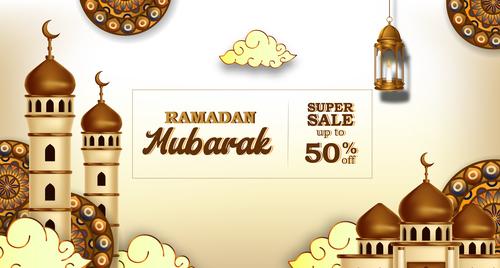 Ramadan Kareem sale flyer vector