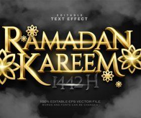 Ramadan kareem editable font and 3d effect vector
