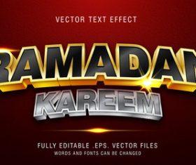 Ramadan kareem text style effect vector