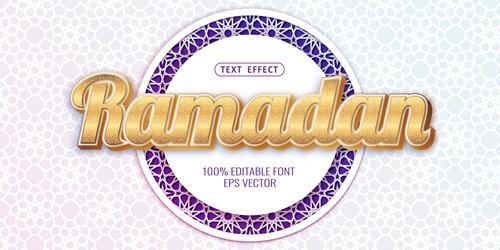 Ramadan text style effect vector