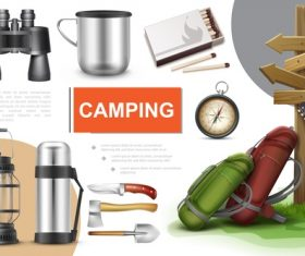Real 3d illustration camping vector