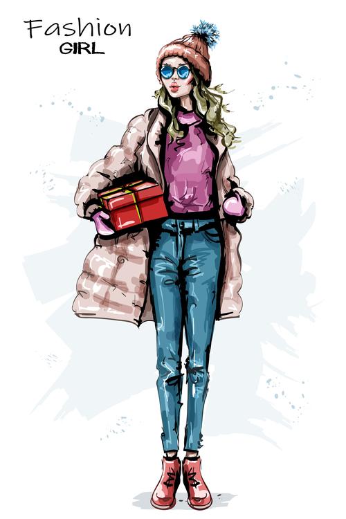 Receive gift girl vector
