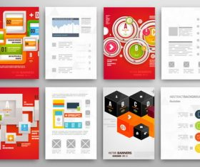 Red background infographics double-sided template design vector