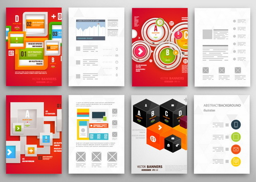 Red background infographics double sided template design vector