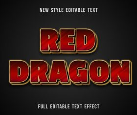 Red dragon editable text effect vector