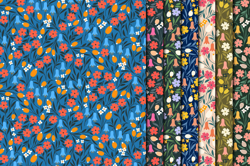 Red flowers seamless pattern on blue background vector