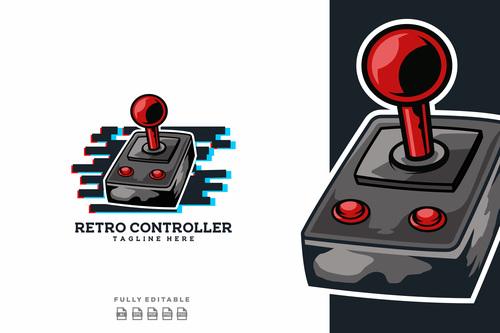 Retro controller logo vector