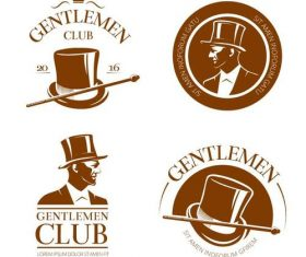 Retro gentlemen club emblems and labels vector