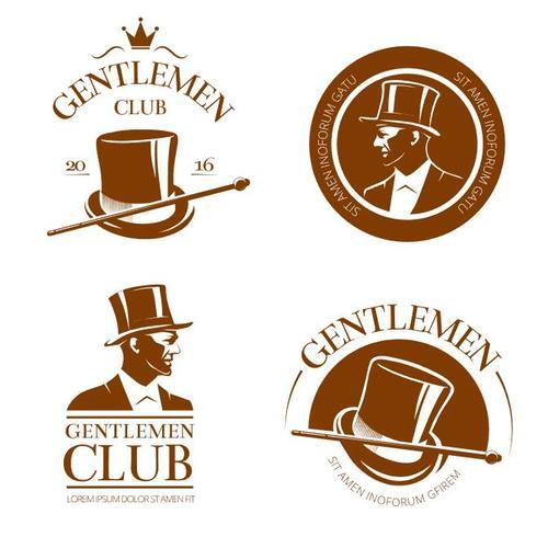 Retro gentlemen club emblems and labels vector