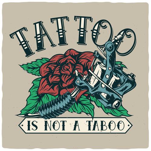 Retro tattoo illustration vector