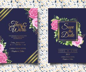 Rose flower glitter wedding invitation card vector