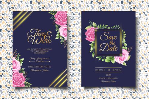 Rose flower glitter wedding invitation card vector