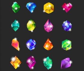 Royal multicolor gems flat icon set vector