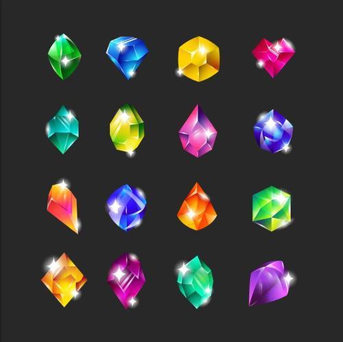 Royal multicolor gems flat icon set vector