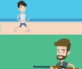 Running and shooting cartoon illustration vector
