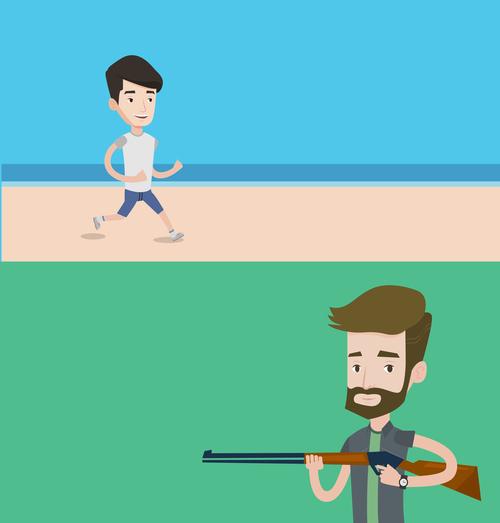 Running and shooting cartoon illustration vector