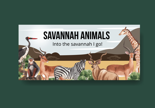 Sawannah wildlife billboard vector