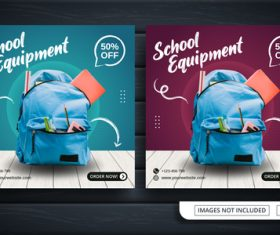 School equipment template vector