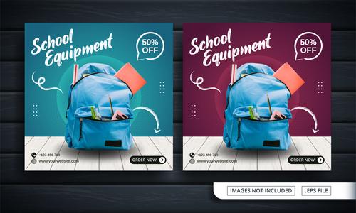 School equipment template vector