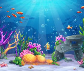 School of fish deep sea world cartoon vector
