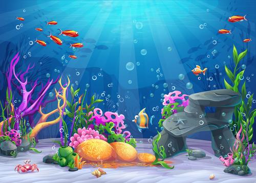School of fish deep sea world cartoon vector