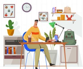 School task at home illustration vector