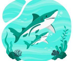 Sea shark illustration vector