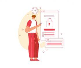 Secure login vector illustration