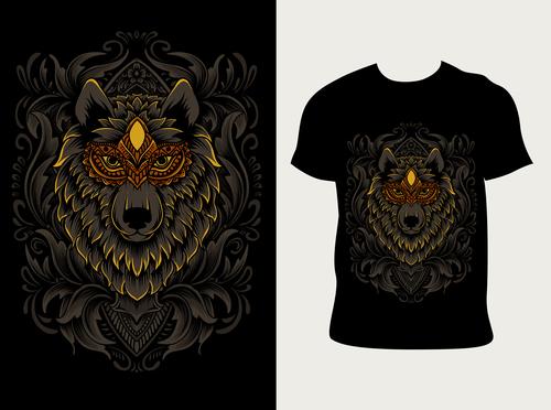 Serigala pattern T shirt printing vector