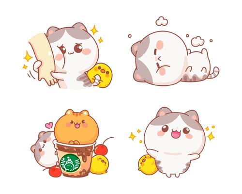 Set of happy cute cats cartoon illustration vector