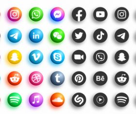Set of social media icon vector