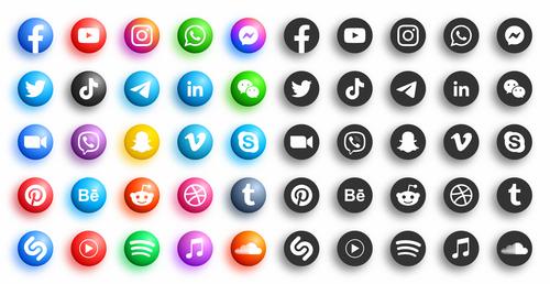 Set of social media icon vector