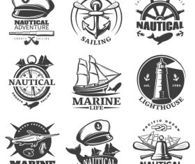 Ship and lighthouse logo vector