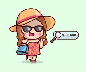 Shop now woman icon vector