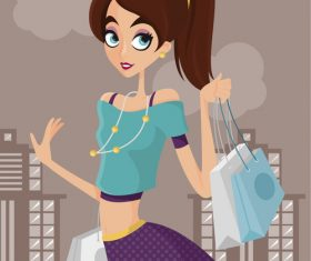 Shopping cartoon illustration vector