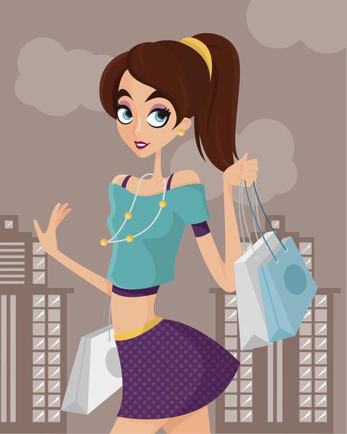 Shopping cartoon illustration vector