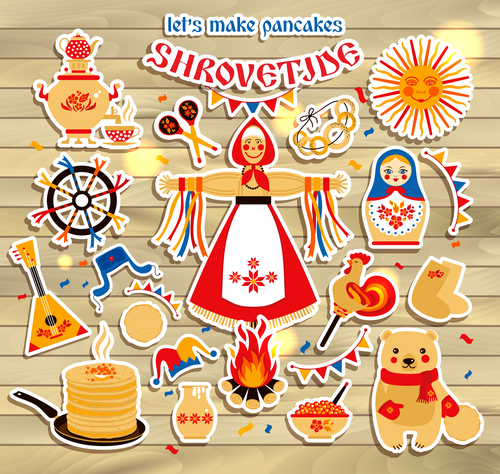 Shrovetide people and food silhouette vector
