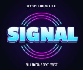 Signal editable text effect vector
