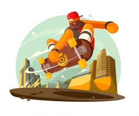 Skateboard jumping cartoon illustration vector