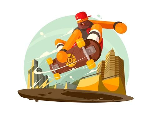 Skateboard jumping cartoon illustration vector