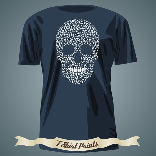 Skull t shirts prints design vector